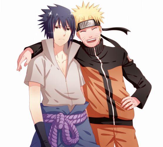 Pixiv Id 3452804 NARUTO Uchiha Sasuke Uzumaki Naruto Light Background Arm Around Shoulder wallpaper