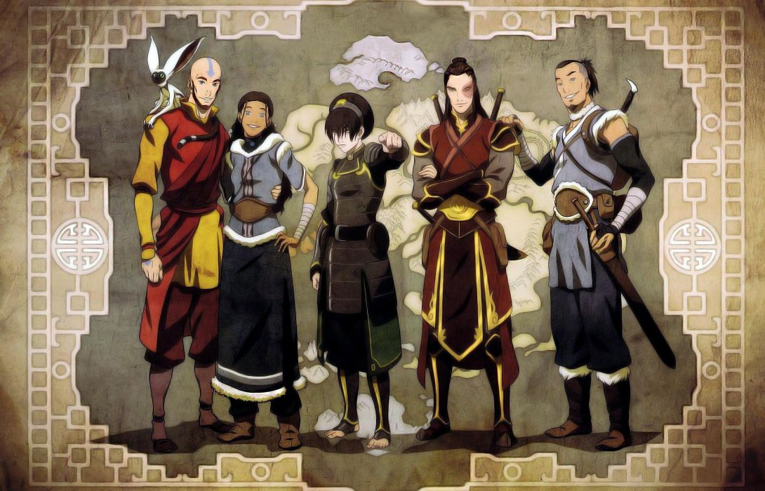Avatar The Last Airbender Aang Sokka Momo Wallpaper