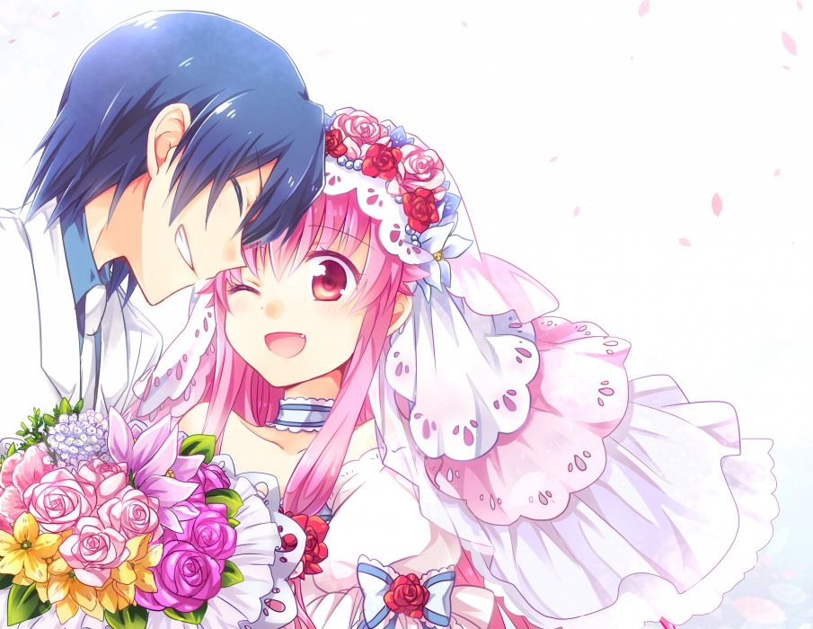 Angel Beats Yui Hinata Hideki Bouquet Head to Head wallpaper