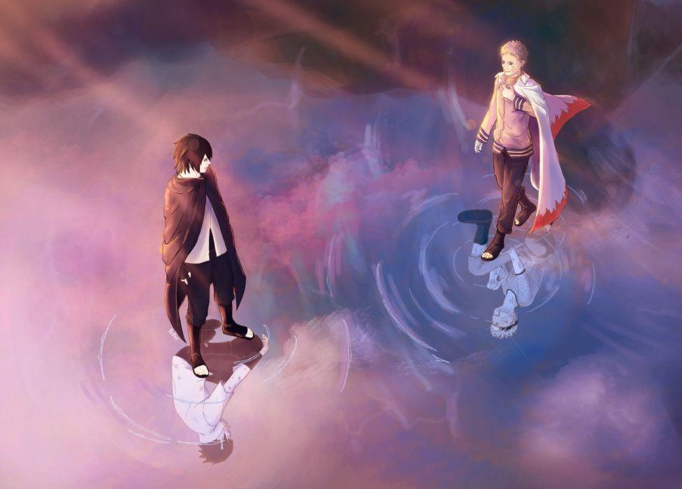 NARUTO Uchiha Sasuke Uzumaki Naruto Reflection Kneeling wallpaper