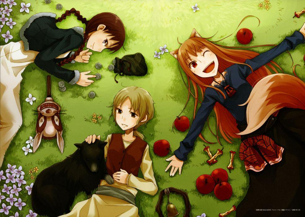 Ookami to Koushinryou Spice and Wolf Ayakura Juu Illustrations Nora Arendt Horo Okamimimi wallpaper