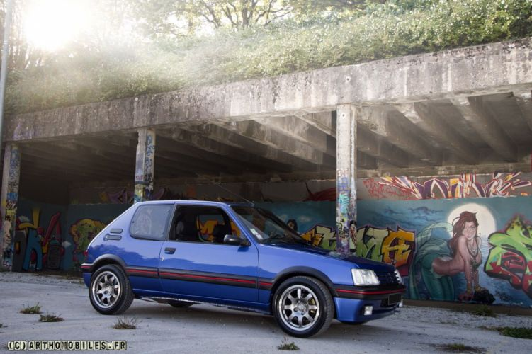 Peugeot 205 gti cars coupe french bleu blue wallpaper