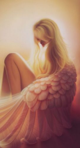 blonde fantasy girl angel wings wallpaper