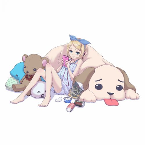 Vocaloid Kagamine Rin iPod Blue Bow Stuffed Bear wallpaper