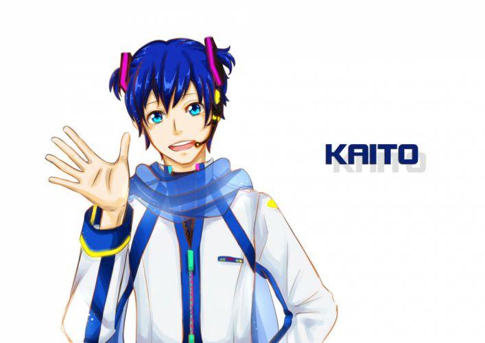 Vocaloid KAITO Black Shirt Waving Alternate Hairstyle wallpaper