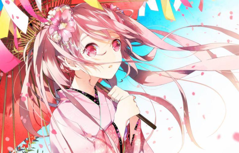 Vocaloid Hatsune Miku Japanese Umbrella Alternate Color Holding Umbrella wallpaper