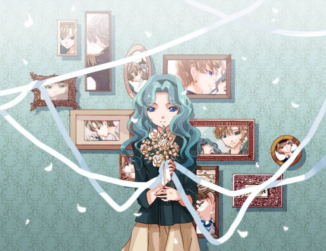 Bishoujo Senshi Sailor Moon Kaiou Michiru Tenou Haruka Green Outerwear Bouquet wallpaper