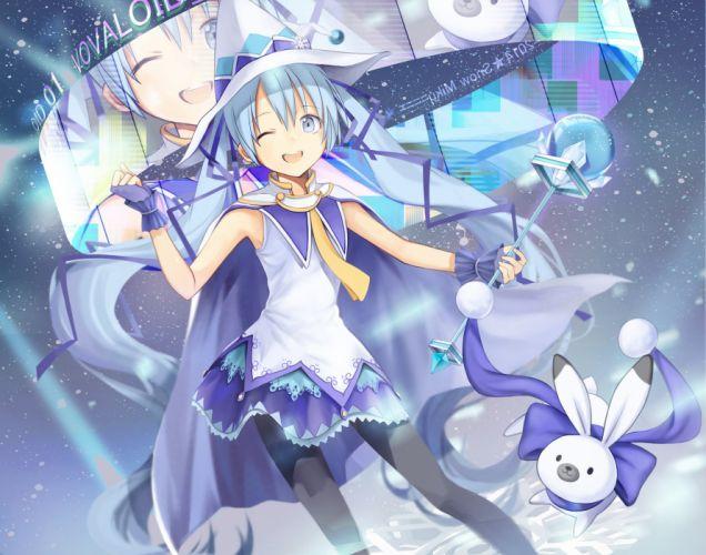 Vocaloid Hatsune Miku Blue Gloves Staff Blue Handwear wallpaper