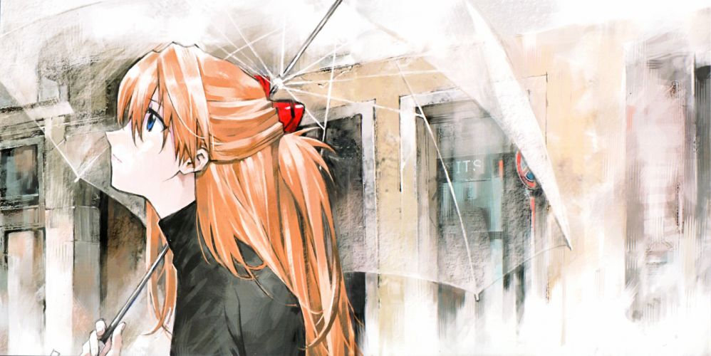 Neon Genesis Evangelion Souryuu Asuka Langley Transparent Object Open Umbrella Looking Ahead wallpaper