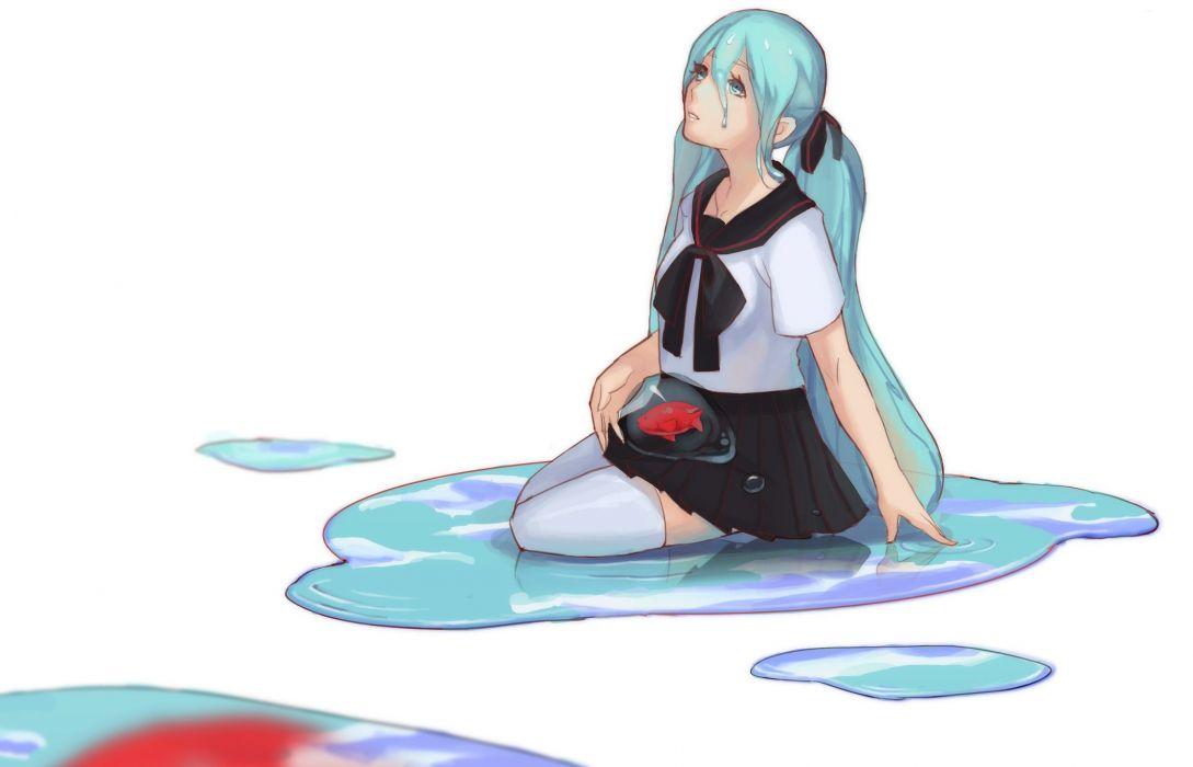 Vocaloid Hatsune Miku Anime Girls mood sad crying cry wallpaper