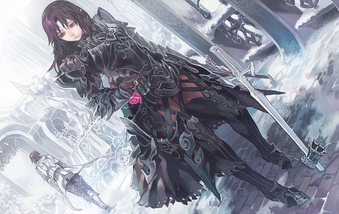 Warrior Roses aoin Armor Swords Anime Fantasy Girls sword original gothic wallpaper