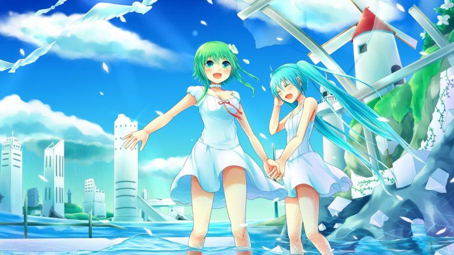 Hatsune Miku Vocaloid Two Anime Girls wallpaper