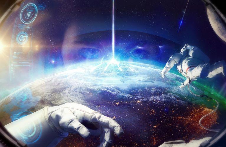 Cosmonaut Earth Hands Space Fantasy astronaut planet artwork art wallpaper