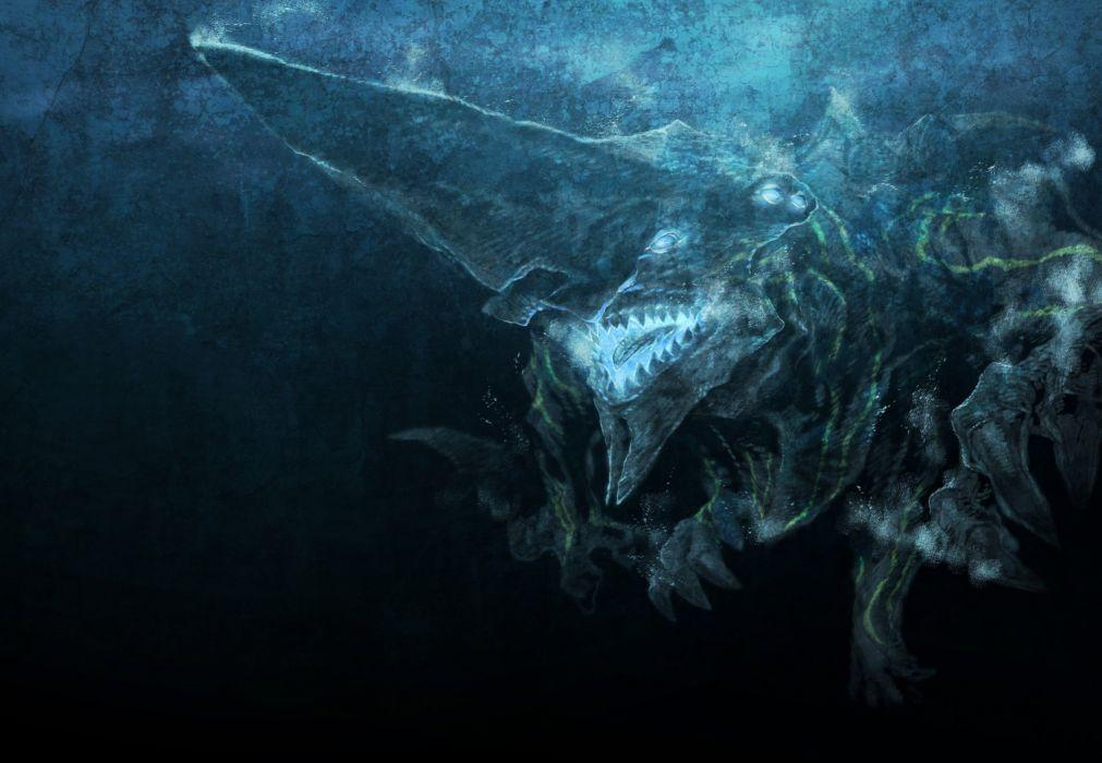 Pacific Rim Monster Movies Fantasy ocean sea dark shaRK UNDERWATER wallpaper