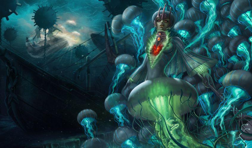 League of Legends Nami Games Fantasy ocean sea jelly jellyfish fish art artwork wallpaper