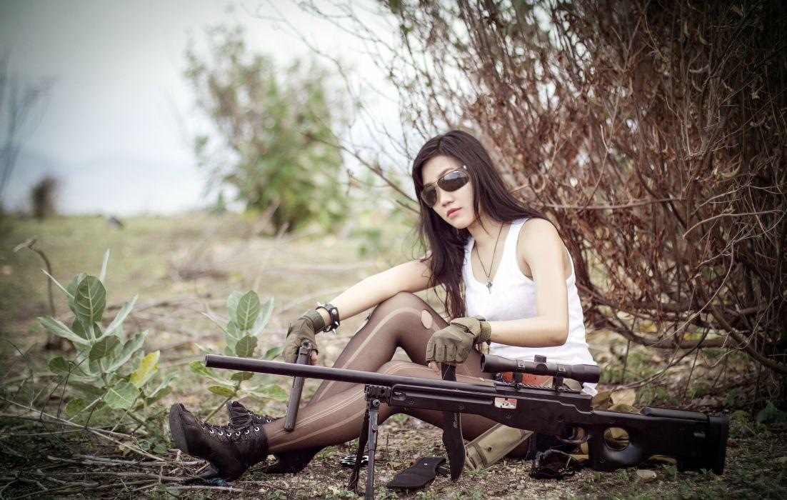 Pistol Asian Rifle Sniper rifle Sniper Glasses Army Girls military sexy babe weapon gun wallpaper