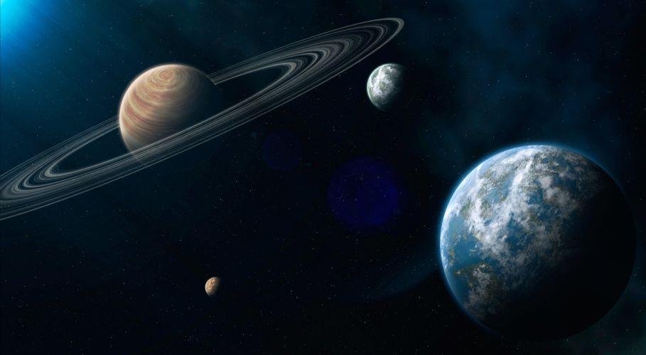 Planet Space earth moon sci-fi stars wallpaper