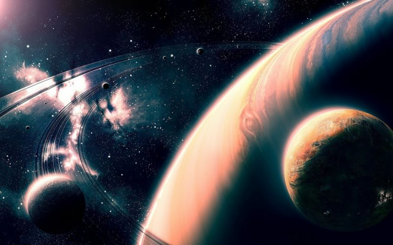 Planet Space stars spaceship sci-fi artwork art wallpaper