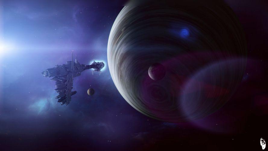 Planet Technics Ship Fantasy Space spaceship sci-fi wallpaper