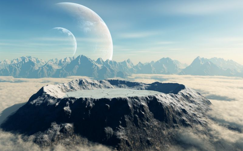 Surface of planet space landscape sci-fi crater mountains wallpaper