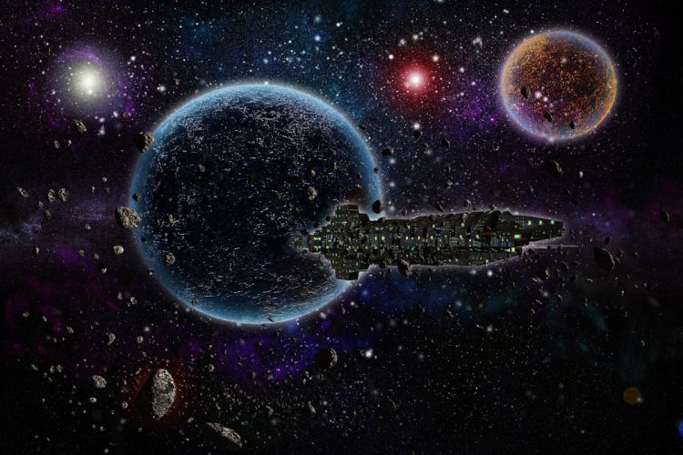 Technics Planet Asteroids Stars Ship Fantasy Space sci-fi spaceship moon wallpaper