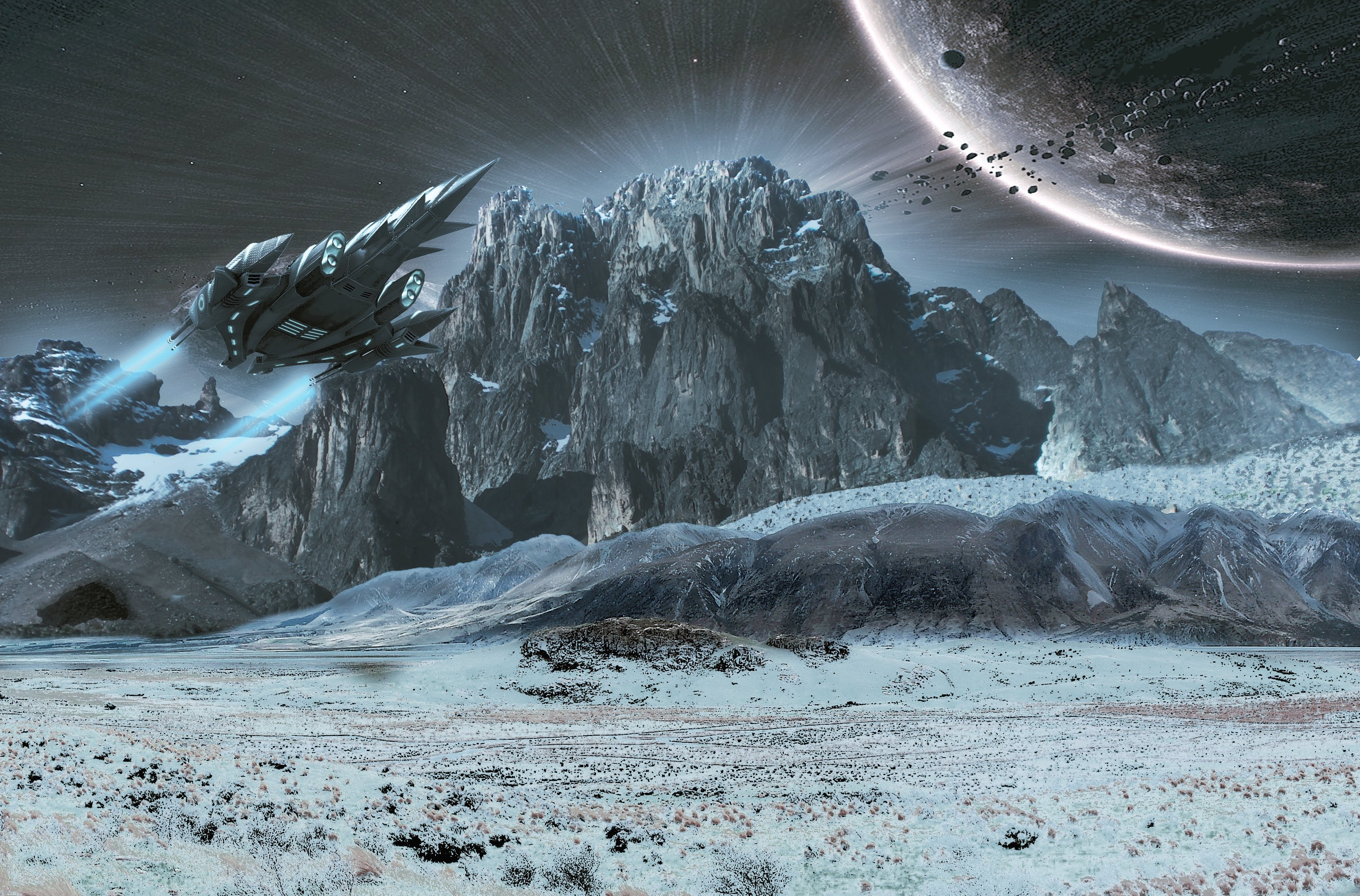 Surface Planet Ships Space landscape moon sci-fi wallpaper ...