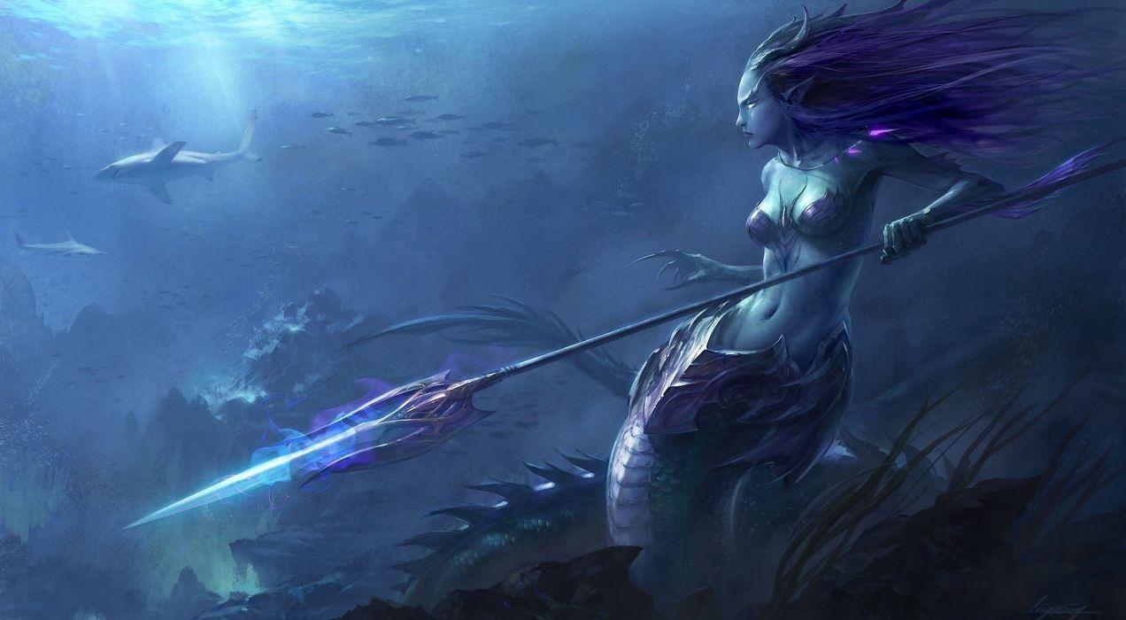 Art mermaid underwater Serena spear wallpaper