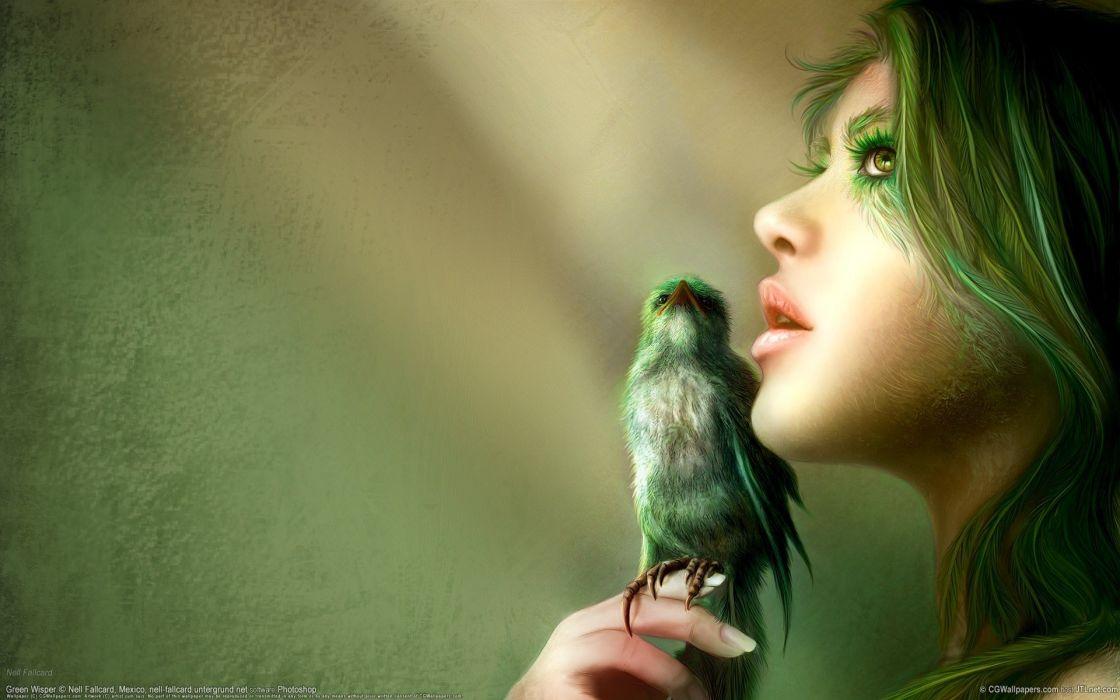 girl drawing bird green illustration art fantasy  wallpaper