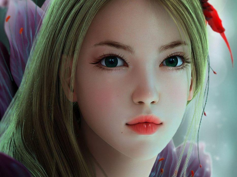 Art girl face flower fantasy wallpaper