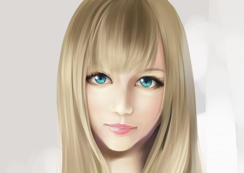 Painting Art Face Glance Blonde girl Hair Girls wallpaper