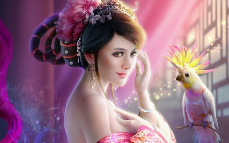 3D Girl with Parrot fantasy wallpaper