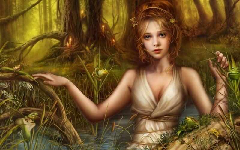 fantasy girl lake frog Candles wallpaper