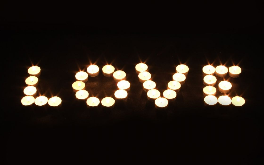 night light candle LOVE Letter Romantic wallpaper
