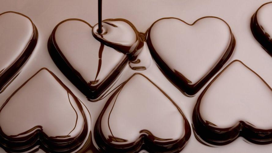 Delicious Soft Chocolate Hearts wallpaper