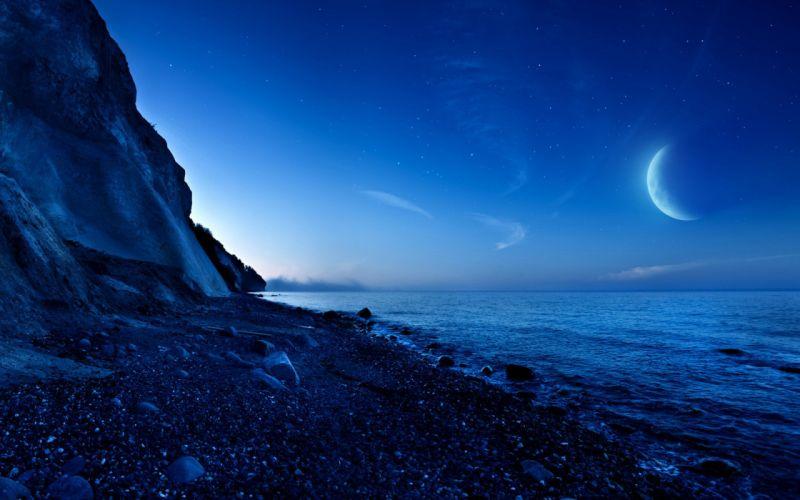 Nightfall Mountain Sea Moon blue night wallpaper