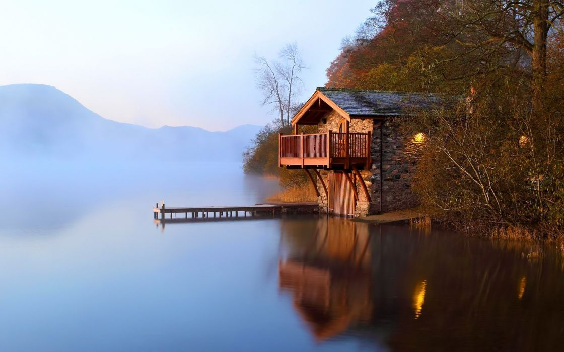 Boathouse scenic lake home tree wallpaper
