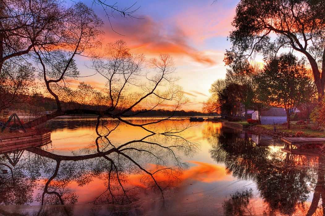 river sunset sky tree coast wallpaper