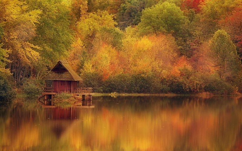 autumn season forest houses lakes wallpaper