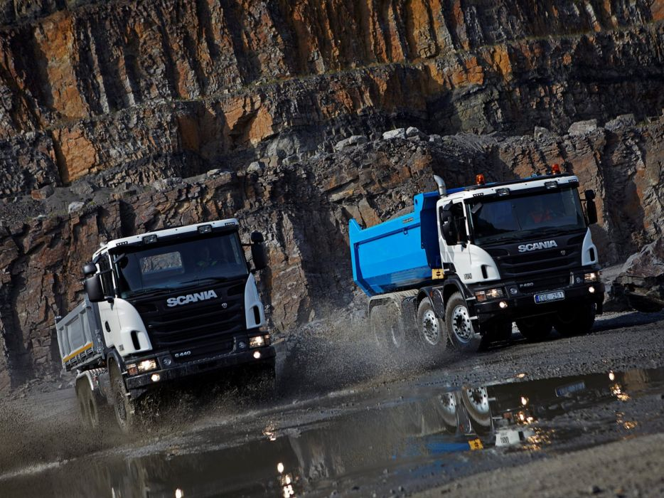 Scania semi tractor quarry construction dump dumptruck k wallpaper