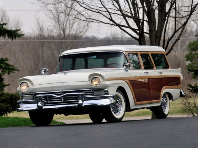 1957 Ford Country Squire stationwagon retro wallpaper