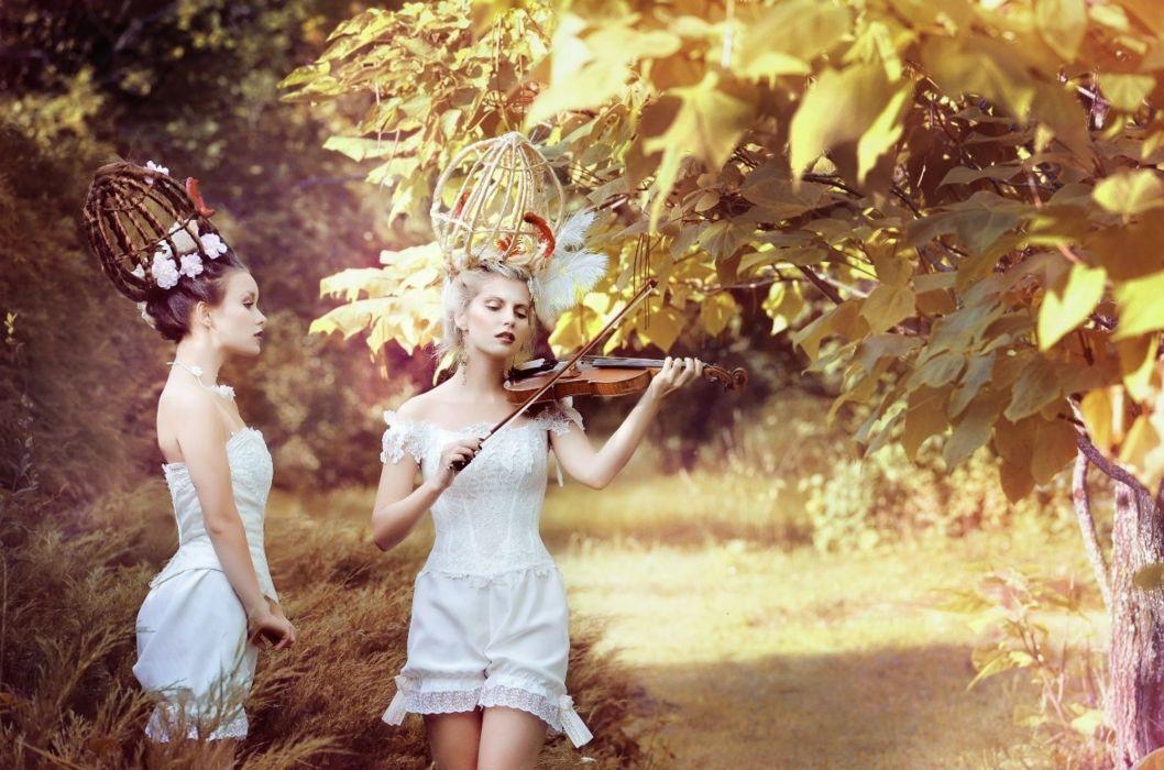 Girl forest violin mood tree sunlight wallpaper
