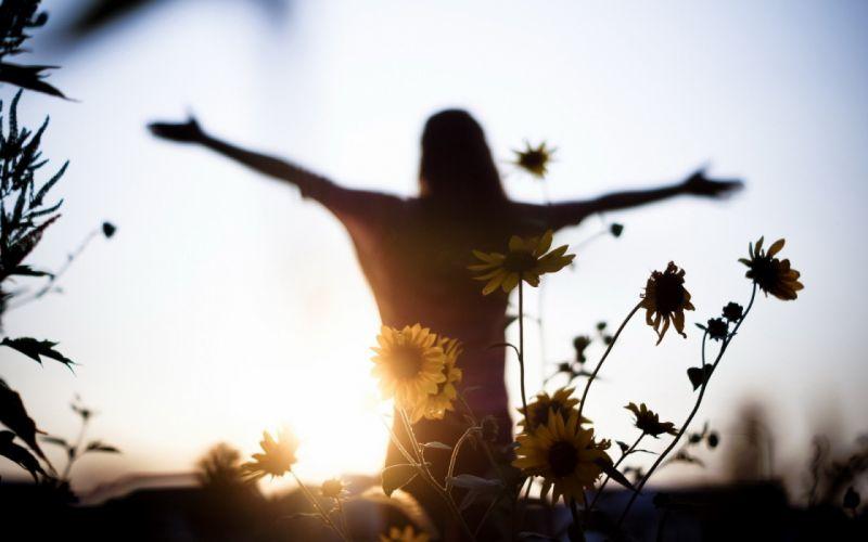 sunset girl light flowers mood freedom Women wallpaper