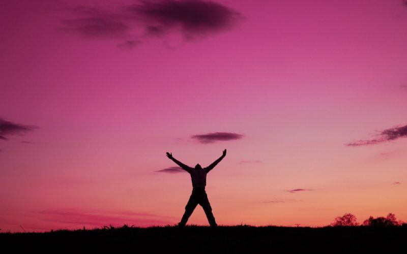 sunset man sunrise silhouette freedom emotions wallpaper
