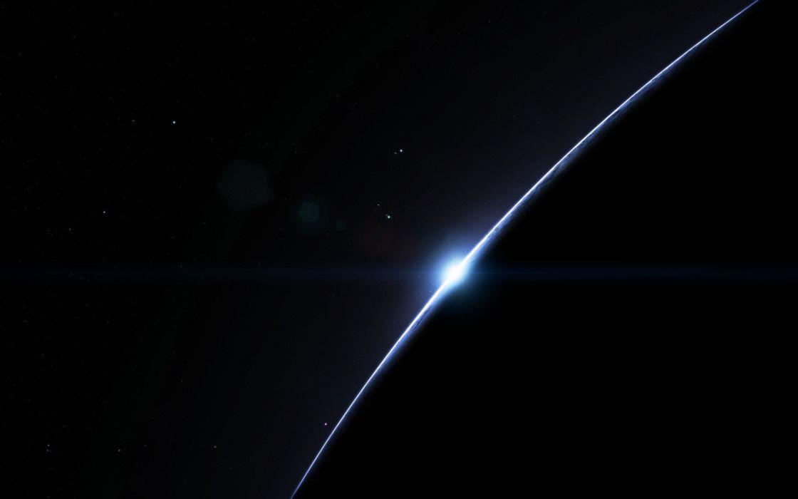 stars dark sunrise space planet simple wallpaper