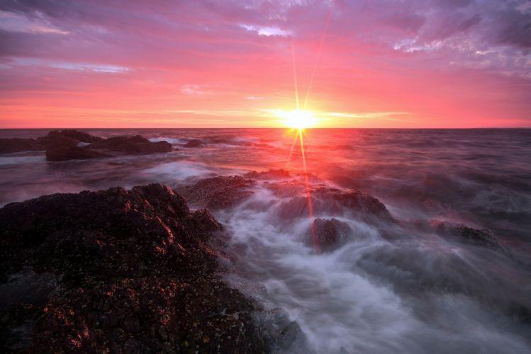 sea morning stones clouds sun wallpaper