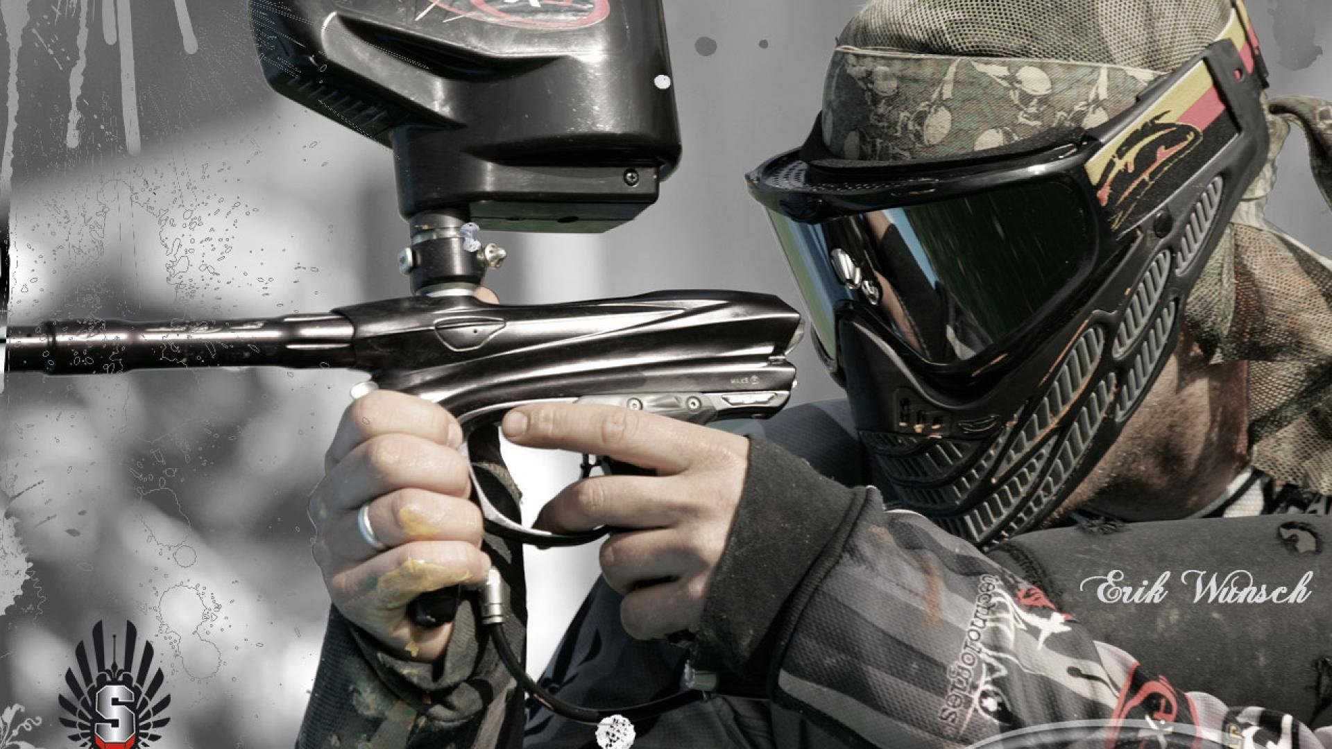 paintball weapon gun paint extreme strategy action wallpaper. Black Bedroom Furniture Sets. Home Design Ideas