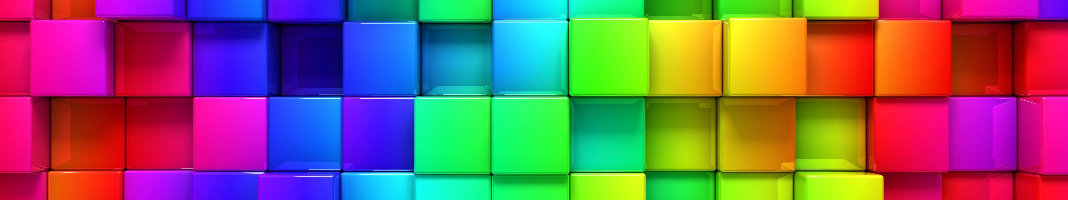 triple monitor multi multiple screen brique cube sqare carre abstract wallpaper