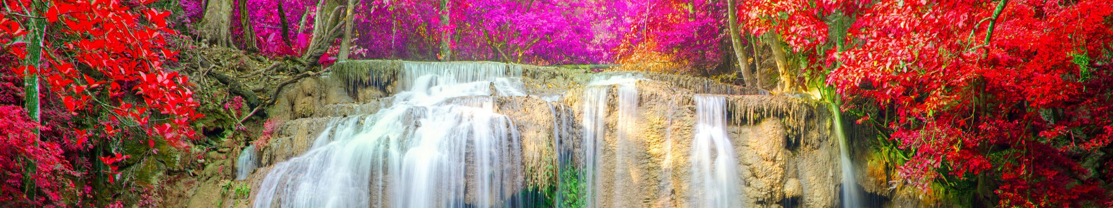 triple monitor multi multiple screen chute paysage nature waterfall wallpaper