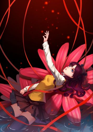 fate stay night seifuku flower girl toosaka rin wet wallpaper