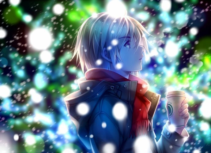 male anime snow winter wallpaper